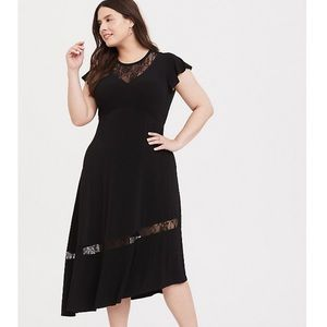 Torrid Lace Insert Asymmetrical Midi Dress 1X